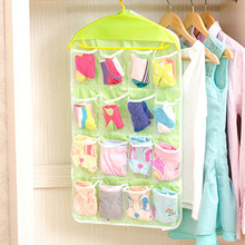 New Fashion 16 grids Foldable Wardrobe Hanging Bags Socks Briefs Organizer Clothing Hanger Closet Shoes Underpants Storage Bag