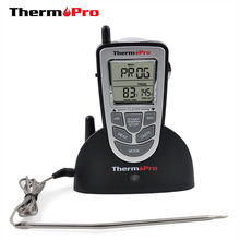 Thermopro TP09 Digital Wireless BBQ Thermometer Wireless Oven Thermometer Home Use Stainless Steel Probe Large Screen with Timer(China)