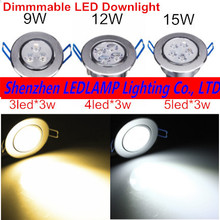 1PCS Dimmable LED Recessed Ceiling Light 9W 12W 15W Cabinet Wall Spot Down Lamp Cold White Warm White For Home Lighting(China)