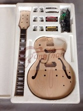 directly factory top  PROJECT ELECTRIC SEMI HOLLOW GUITAR BUILDER KIT DIY WITH ALL ACCESSORIES BY CNC free shipping