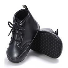 Baby Boys Girls Antiskid Pu Leather Shoes Winter Toddler First Walkers Fashion Martin Boots Black White Pink Yellow Size 11-13cm(China)