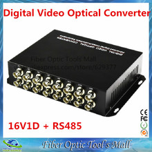 1 Pair 16 Channel Digital Video Optical Converter Fiber Optic Video Transmitter and Receiver 16CH + RS485 Data