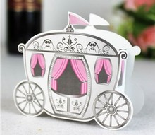 Free Shipping 50pcs Pink princess carriage candy box Continental personality Creative favor box wedding candy gift favour box(China)
