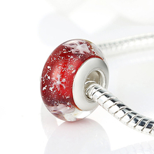 Authentic Stamp Silver Color Snow Red Glass Bead  Fit Pan Bracelet Necklace Exquisite Christmas Accessories