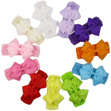 "36pcs/lot Wholesale Hair Ribbon Bows Soft Elastic Headbands 4"" Twisted Hair Bows Girls Headband Hair Accessories"