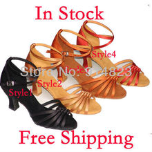 IN STOCK 4 colors wholesale lady's ballroom/latin dance shoes, women dance shoes, 6cm heel hight,1 pair mini order,free shiping(China)