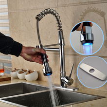 Polished Chrome led Light Spring Kitchen Faucet Single Lever Hot and Cold Water Two Spout Mixer Taps + Hole Cover