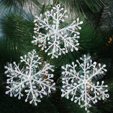 30pcs Silver Glitter Christmas Pastic Snowflakes Lace Hanging Craft Felt White Snowflake Snow Flake Xmas Tree Decorations Party