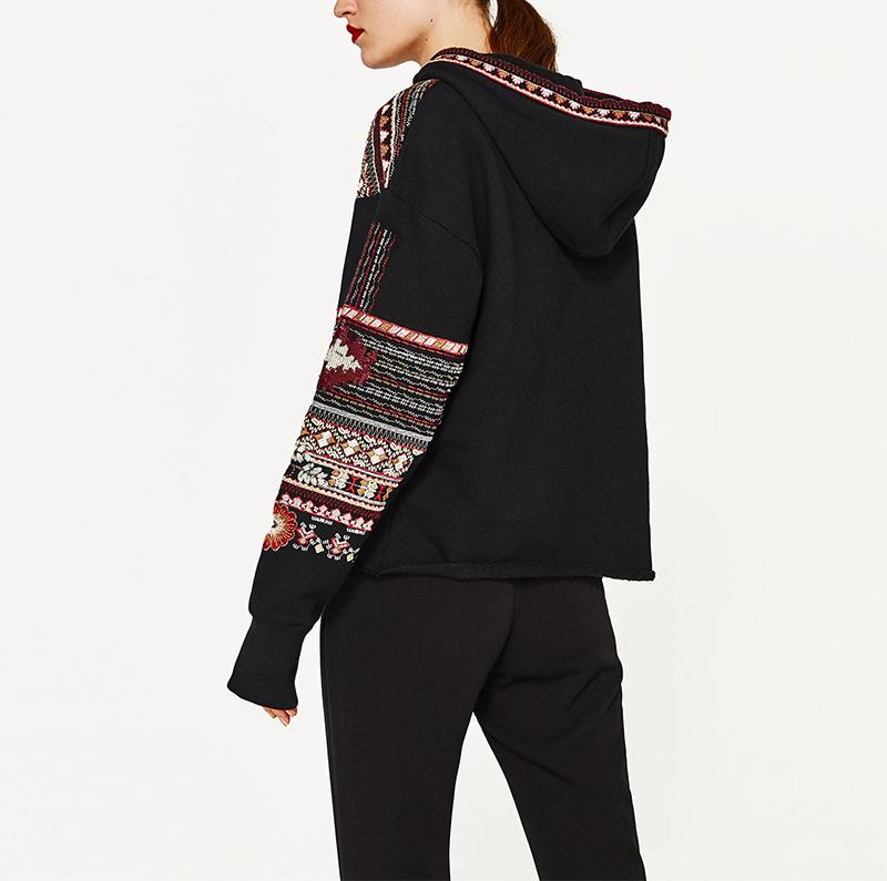 ShejoinSheenjoy Hooded Long Sleeve Loose Hoodies Women Fashion Black Vintage Floral Geometric Embroidery Sweatshirt Pullovers (9)