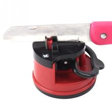 1 pcs Red Knife Sharpener Scissors Grinder Suction Chef Pad Kitchen Sharpening Tool amolador de faca scissors sharpener(China)