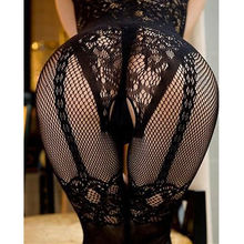 Buy 2017 HOT Women Sexy Open Crotch Stockings Crotchless Fishnet Sheer Body Dress Lingerie Tights Nightwear Lace Women Stocking