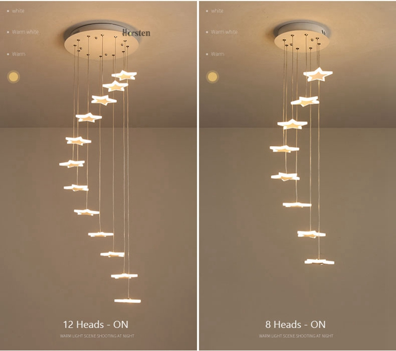 Modern Duplex Staircase LED Pendant Lights Personality 18 Stars Hanging Lamps Minimalist Rotaion Staircase Lamp Living Room Lighting (11)