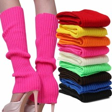 1 pair New Arrival Winter Warm Knit Crochet Neon High Knee Leg Warmers Boot Sock Slouch calentadores de pierna