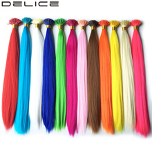 [DELICE] 100s/Pack 40cm Pure Color Synthetic Straight I Tip Hair Extensions With 100pcs Silicone Micro Beads Free, 0.5g/Strand