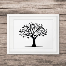 Black Family Tree Art Print Love Heart Pictures Painting Nodic Home Decor Family Tree with love Wall Art Living Room Decor E164