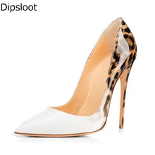 Sexy Women Leopard Gradient Shiny Leather Pointed Toe Pumps Ladies Stiletto High Heels Pumps Ladies Party Dress Shoe EU 46(China)