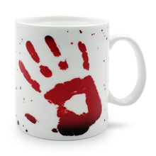 1Piece Bloody Hand Color Changing Mug Thernal Spooky Blood Hand Print Halloween Heat Reactive Magic Mug Tea Cup