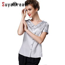 Silk blouse Women short sleeve work solid Office lady Blouse shirt Blusas femininas spandex Plus size 2017 NEW FAll shirt
