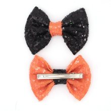 10pcs/lot Black/Orange Halloween Hair Bow, 4'' Big Sequin Bows for Headband, mixing colors Hair Accessory, Headwear