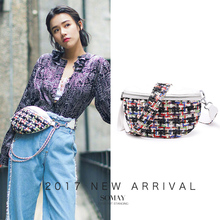 A0811 SOMAY New Color Fiber Knit Women Waist Packs Fashion Design Shoulder CC Bag Simple Leather Waist Bags Vintage chain Bag(China)