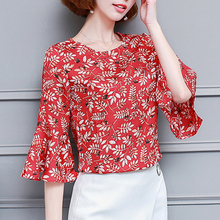 New Women Summer Blouse Floral Flower Print Chiffon Shirt Short Flare Sleeve Fashion Loose Top Plus Size Office Female OL Blusas