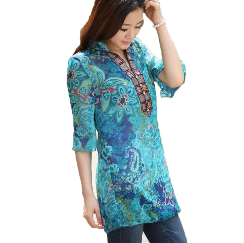 fashion Print Blouses New Summer 2017 Vintage Women Floral Print Blouses Chiffon Casual Long Tops Shirt Plus Size M/4XL 9L102(China)