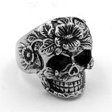 Ghost Skull Ring 316L Stainless Steel Soldier Mens Flower Skull Exaggerated Punk Cool Vintage Ring For Man Jewelry 6C0303(China)