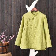 2017 Spring and Summer Women's Cotton Embroidered Stand Collar Plate Buttons Chinese-style Linen Tunic Shirt In Tea Service