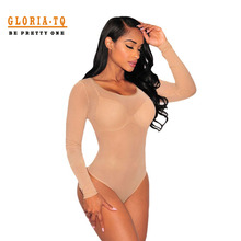 Nude Transparent Sexy Bodysuit Women Rompers Bodycon Jumpsuit Long Sleeve Mesh Bodysuit Sheer See Through Turtleneck Bodysuits
