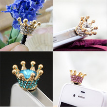 HOT SALE Mini 3.5mm Jack Crystal Rhinestones Cellphone Charms Earphone Audio Headphone Anti Crown Dust Plug Phone