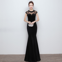 Elegant High Neck Evening Dresses Sequined Silver Beadings Black Mermaid Evening Dress Open Back Formal Gowns 2016