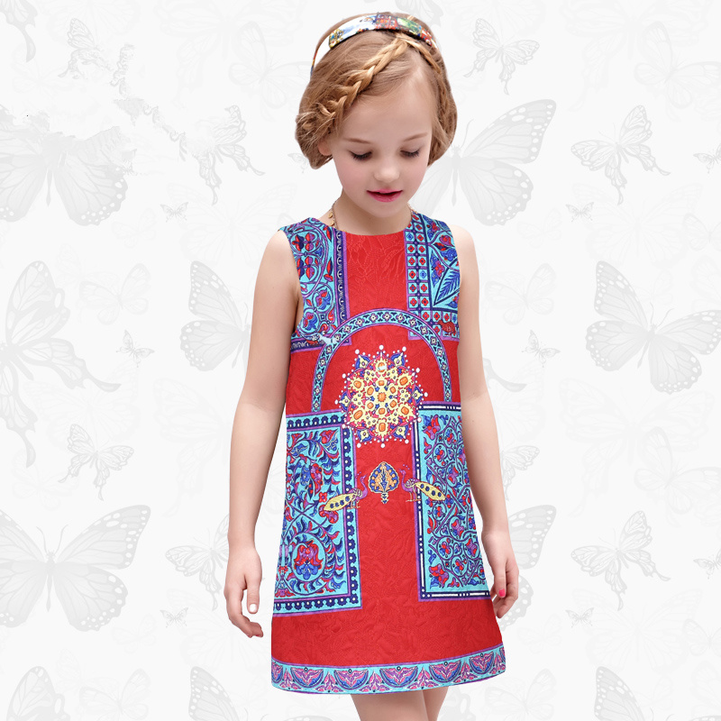 Toddler Girls Dresses Children Clothing 2017 Brand Princess Dress for Girls Clothes Fish Print Kids Beading Dress 1 17<br>