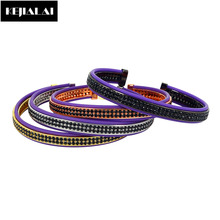 Fashion Brand Men Bangles for Women Purple Genuine Leather Bangle with Double Lines Black Zircon Shining Jewelry 2017 Best Gift