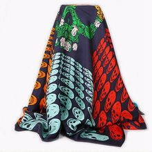 Promotion Skull Print 100% Silk Twill Scarf Wraps Women Ladies Square Silk Scarves Shawl 90x90cm Clothing Accessory