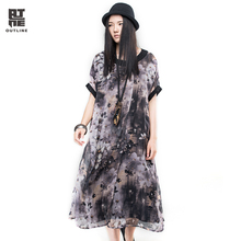 Outline Brand Vintage Ink Print Dress With Chinese Style Casual Maxi O-neck Print Dresses In Women Summer Loose Dress L162Y015