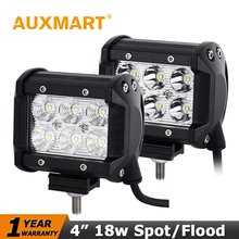 Auxmart CREE Chips 18W LED Work Light Bar Flood Spot Beam Spotlight Offroad Light Bar Fit ATV Pick-up Truck For Jeep Ford Motor