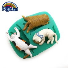 New 3 cats style silicone mold for cake decorating animal fondant cupcake mold chocolate polymer clay mould resin tools F0681XM