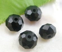 8SEASONS 70 Black Created Crystal Quartz Faceted Rondelle Beads 5040 8mmx6mm(B03854)(China)