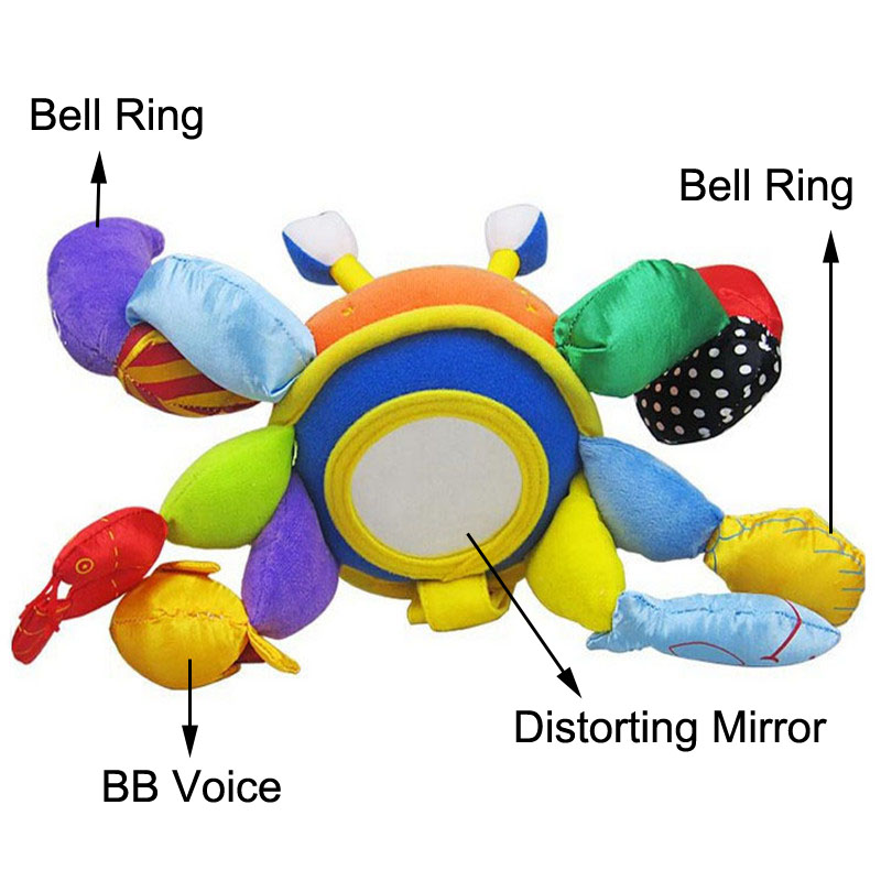 baby multifunctional crab rattle toys bed hanging bell ring  soft safety mirror BB teethers cloth infant educational plush toys<br><br>Aliexpress