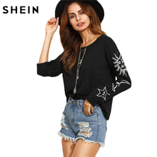 SHEIN T shirt Women Clothing Autumn Casual T-shirt Tops Black Sun and Moon Print Round Neck Long Sleeve T-Shirt(China)