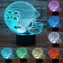 Acrylic Night Light NFL Team Logo 3D Light Michigan Wolverines Football Caps Helmet 7 Color LED Table Lamp Child Gift IY803670(China)