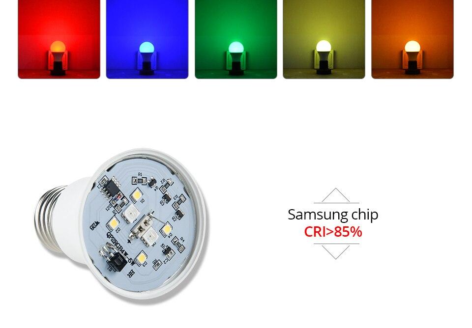 Foxanon E27 RGBW RGBWW 85-265V Led Lamps 10W LED Bulb Lamp 24Keys Remote Controller Colorful Night Light Home Lighting Decor_05