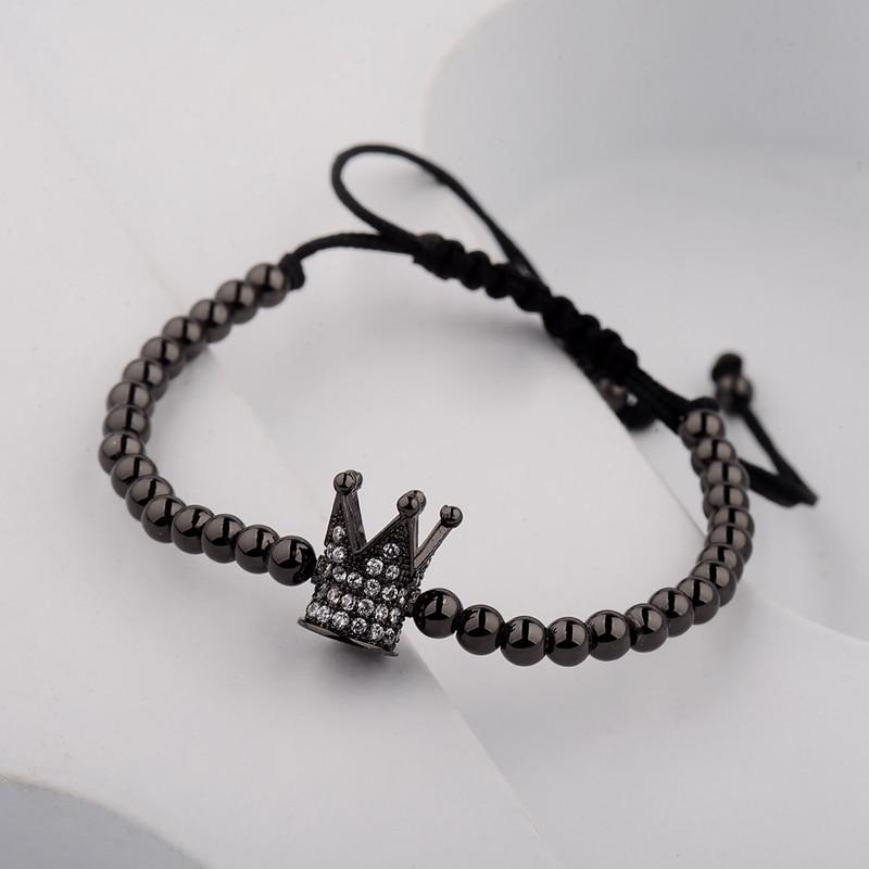 DOUVEI 17 New Black Diy Design Pave CZ Ball Charm Bracelet Men Women Braided Macrame Copper Beads Jewelry Gift For Men Women 2