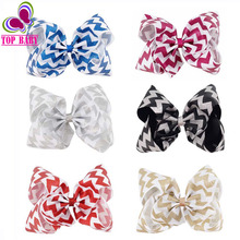 8Inch High Quality Glitter Large Sparkly Bow Chevron Ribbon Hair Bow Barrette Clip Party Handmde Boutique Big Hair Clips 2Pcs
