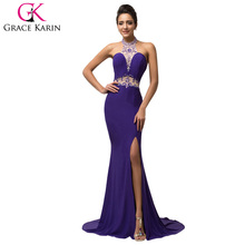 Buy Grace Karin Design Evening Dress 2018 Sexy Backless High-Split Front Halter Dancing Party Dress Long Elegant Evening Dresses
