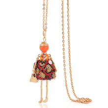 lovely fashion stylish french cloth dress dancing doll necklace big choker women jewelry stores christmas gifts long chain(China)