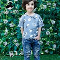 Boys-Summer-T-Shirt-Kid-Clothes-Floral-Shirts-Full-Print-Children-s-Blue-Khaki-Top-Short