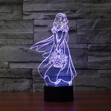 Fairy Tale the seven dwarfs and Princess Colorful LED Baby Nightlight 3D Lamp Decor Bedroom Lighting for Girls Toy Xmas Gift(China)