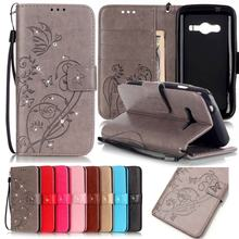 For Samsung Galaxy Ace 4 Case Leather Wallet Phone Cases Samsung Galaxy Ace 4 Lite G313 G313H Luxury 3D Diamond Bling Flip Cover(China)