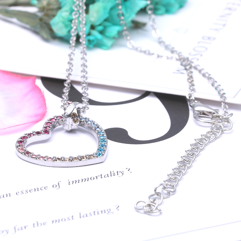 Silver Plated Rainbow Heart Necklace and Pendant